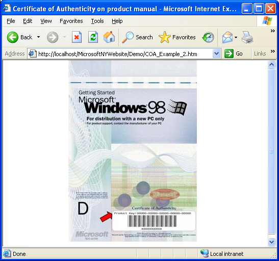 Certificate of Authenticity printed on your Operating System product manual